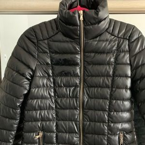 GUESS Faux Leather Puffer Coat Warm Girls Size 14